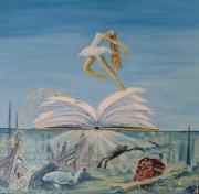 tableau scene de genre surrealisme reve danseuse mer : Submarin in London