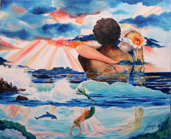 TABLEAU PEINTURE Paysages Peinture a l'huile  - Effet Aquarium