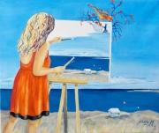 tableau scene de genre paysage marin la reunion ocean noela : La peintre
