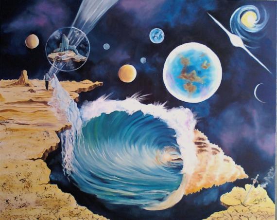 TABLEAU PEINTURE Planètes en peinture Noèla Morisot Suuréalisme en peint Peindre le fantastai Paysages Peinture a l'huile  - mariage interplanètaire