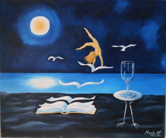 TABLEAU PEINTURE Surréalisme et mer Scène de genre Peinture a l'huile  - La danseuse au Clair de Lune