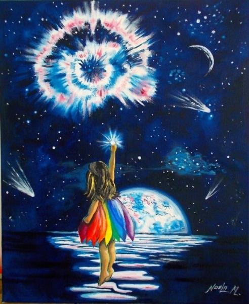 TABLEAU PEINTURE Etoiles Petite fille Surréalisme Peinture surréaliste Personnages Peinture a l'huile  - La petite allumeuse d'étoiles