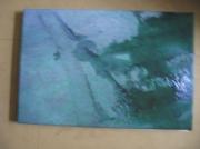 tableau abstrait eau toile photo flaque d eau : le bateau fantome