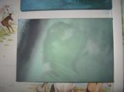 tableau personnages personnages toile vert vetement : TABLEAU X