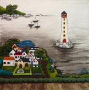 tableau paysages village phare bateau mer : Village face au phare