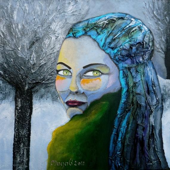 TABLEAU PEINTURE visages hiver regard Personnages Acrylique  - Paradis hivernal (VENDU)
