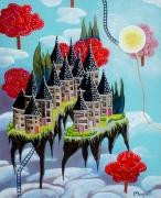 tableau architecture village nuage ciel imaginaire : Village dans les nuages