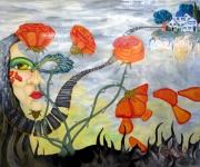 tableau personnages visage masque village fleur : L'abandon