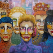 tableau personnages visages urbain ville new york : Amazones new yorkaises