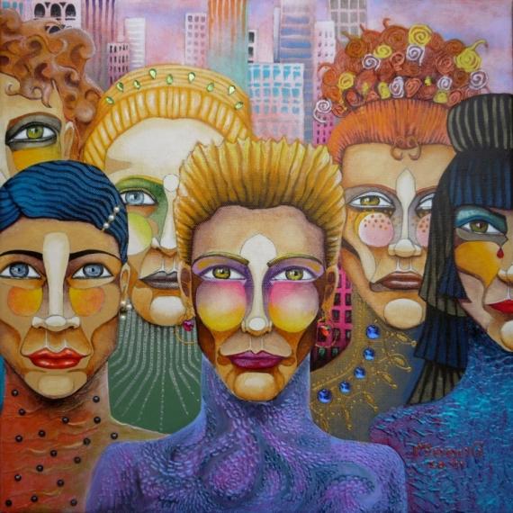 TABLEAU PEINTURE Visages urbain ville new york Personnages Acrylique  - Amazones new yorkaises