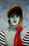tableau personnages visage chapeau marin : La fille au chapeau
