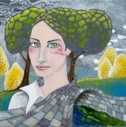 tableau personnages femme pont fleuve campagne : Mademoiselle Bucolique