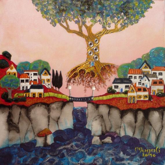 TABLEAU PEINTURE Village Arbre imaginaire Falaise Paysages Acrylique  - Village à passerelle