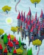 tableau paysages village nuage imaginaire ciel : Village sur le départ