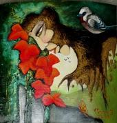 tableau personnages visage plante oiseau arbre : Déracinement