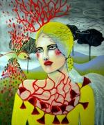 tableau personnages femme oiseau arbre : Discussion secrète