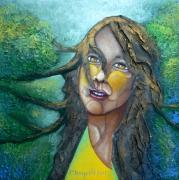 tableau personnages visages printemps regard : Clémence printanière