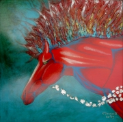 tableau animaux cheval : Tout flamme