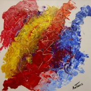 tableau abstrait abstrait couleur bleu rouge : COLORS