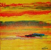 tableau abstrait abstrait jaune vert noir : YELLOW DREAM