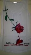 art textile mode fleurs : ROSE QUI SAIGNE