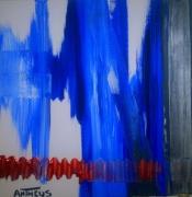 tableau abstrait bleu cuivre abstrait : BLEU-CUVRE