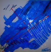 tableau abstrait bleu rouge abstrait : BLESSURE