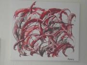 tableau abstrait abstrait moderne rouge couleur : LES RACINES DE LA VIE