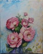 "tableau fleurs jardin rosiers : Roses ""carmin"""