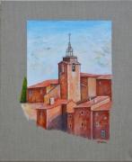 tableau paysages provence village roussillon : Village Provençal
