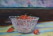 tableau fruits fraises cristal couleurs : Coupe en cristal
