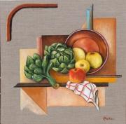 tableau nature morte : Artichauts et pommes