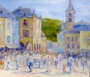 tableau paysages la procession dansan arts aquarelles et ,p artistes peintres artistes peintres ma : Procession Dansante
