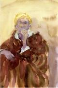 tableau personnages portrait en aquarell : Le Fumeur