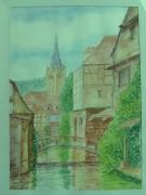 tableau paysages wissemboug en aquare aquarelles peinture alsace paysages en ,a artistespeintresar : Wissembourg