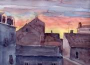tableau paysages paysage en aquarelle artistes peintres de : Lever du jour à Mulhouse