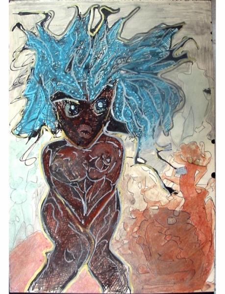 PAINTING NU DESSIN art Nus  - Fly girl 1993
