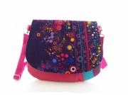 art textile mode abstrait : sac bandouliere fuchsia bulles violet