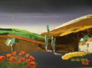 tableau paysages cocquelicots champs paysages : les cocquelicots qui dort