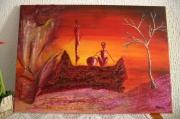 mixte abstrait afrique personnages textures divers : Crépuscule africain