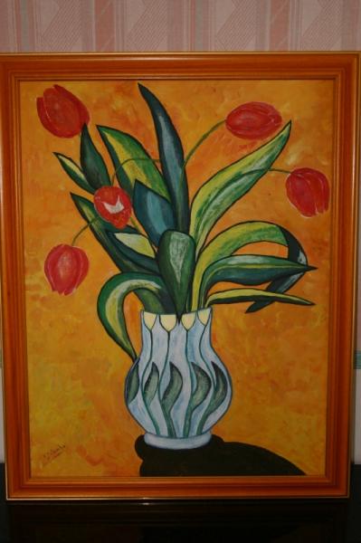 TABLEAU PEINTURE Fleurs Peinture a l'huile  - Vase aux tulipes