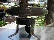 sculpture sport metal bois huile : ballon de rugby