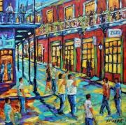 tableau personnages bourbon street new orleans nouvelle orleans musiciens de rue : Rue Bourbon Nouvelle Orleans scène de rue création de Prankearts