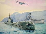 tableau marine royal navy ,t class sub hms repulse gibraltar : T class sub in Gibraltar