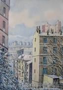 tableau paysages paris belleville hiver neige : Neige à Belleville