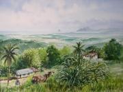 tableau paysages martinique le diamant mornes : La baie du Diamant