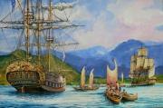 tableau marine fregate 18eme siecle la boudeuse l etoile grand navigateur : Bougainville dans les îles