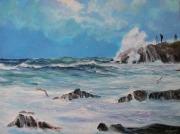 tableau marine mer forte vagues rochers ecume : Les imprudents