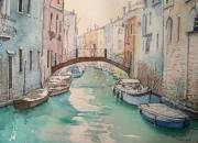 tableau paysages venise barques pont palais : Venise