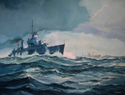 tableau marine destroyer us navy convoi 2e guerre mondiale : Convoi dans l'Atlantique